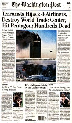 Note the headline sats 'hundreds dead'.  It was still not known on 9/12 how many had died at the World Trade Center.