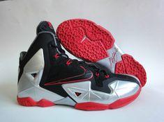 47f9c4b96b8 Nike LeBron 11 Black Sport Red Metallic Silver Lebron 11