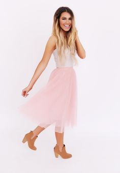 Dusty Rose Tulle Skirt - Dottie Couture Boutique