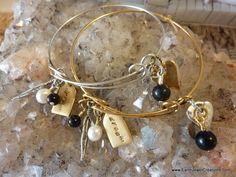 $39 - Black Obsidian Dream Bangle - Inspirational handmade gemstone jewellery Earth Jewel Creations Australia