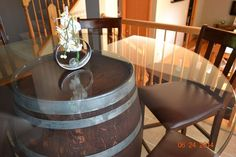 This is on ebay and available in IL for local pick-0up only.  I only pinned it because it's so large and there aren't any corbels.  If we can just lay glass on top this should't be a difficult project.  Wine Barrel Table w/ 54 Inch Round Beveled Glass Top Vintage Furniture