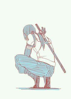 Itachi Uchiha Hand Drawn Picture Squatting   Anime Images