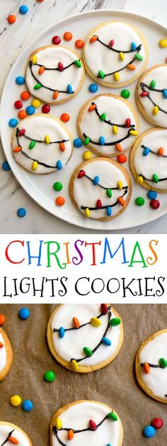 Christmas Lights Cookies for Santa! Easy royal icing recipe and mini M&Ms look like Christmas lights on cookies! Easy Christmas cookies to decorate with kids. via DessertForTwo