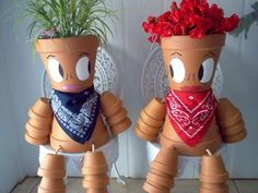 Terra cotta pot people. gotta make these for my patio!!! :~D
