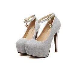 Women's Shoes Synthetic Stiletto Heel Heels/Round Toe Pumps/Heels Wedding/Party Evening Black/Pink/Silver
