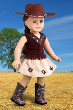 Cowgirl - 4 piece outfit includes cowgirl hat, skirt, top and cowgirl boots - American Girl Doll Clothes  Price : $29.97                                                                                                                                                                                 Más