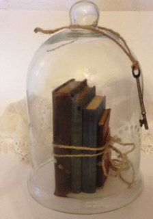VintageGlass Cloche, Antique Glass Bell Jar, Vintage books, Vintage  glass cloche display, vintage wedding display, on Etsy, $50.00