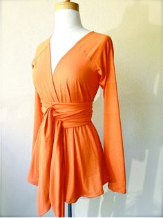 LAST ONE - Limited Edition long sleeve belted Cardigan in Pumpkin orange  -  organic cotton  custom handmade. $75.00, via Etsy.