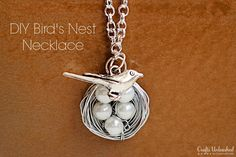 "How-to: Easy Wrapped Wire Bird Necklace- customize with a pearl ""egg"" for each child! Full tutorial."
