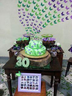 Mesa do bolo borboletas 30 anos Jeniffer