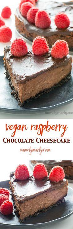 This Vegan Chocolate Cheesecake with Raspberries may be the best dessert ever! Creamy layers of vanilla and chocolate cheesecake are topped with chocolate! shiranirajapakse.wordpress.com, facebook.com/shiranirajapakseauthor/, @shiraniraj