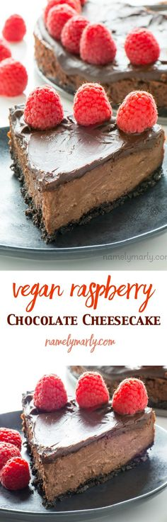 This Vegan Chocolate Cheesecake with Raspberries may be the best dessert ever! Creamy layers of vanilla and chocolate cheesecake are topped with chocolate!