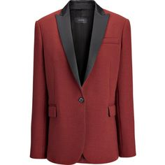 Tuxedo Savoy Jacket ($720) ❤ liked on Polyvore featuring outerwear, jackets, red tux jacket, red tuxedo jacket, tuxedo jacket, tux jacket and tuxedo suit