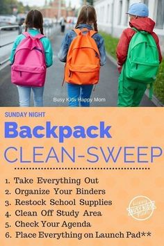 """Sunday night is Backpack Clean-Sweep. Time to get out every crumb and scrap of paper. Last year, I'm pretty sure my son was carrying an extra 20 pounds of """"treasures"""" in his backpack that had nothing to do with school. If we can train our kids to do this, we can conquer the world! #organization"""