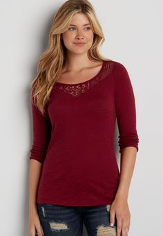 tee with lacy neckline (original price, $24.00) available at #Maurices