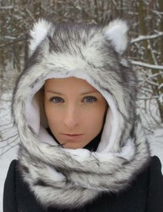 Whitewoof Luna fur fleece wolf hat with scarf and pockets