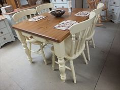 Farmhouse Painted Dining/ Kitchen Tables Farrow & Ball Dorset Cream