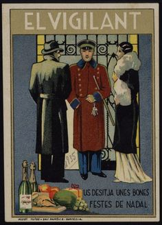 El Vigilant us desitja unes Bones Festes de Nadal. Any 1935. Fons Joan Amades. #Nadal #Christmas #greeting #card