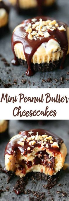 These Mini Peanut Butter Cheesecakes drizzled with chocolate and sprinkled with chopped peanuts are a lot of goodness packed into a muffin sized dessert! With a peanut butter Oreo crust, this easy cheesecake recipe is delicious from top to bottom. #cheesecake #peanutbutter #minidessert #chocolate