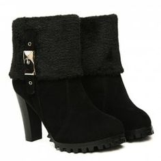 $19.10 Elegant Women's Short Boots With Rhinestones Buckle and Faux Fur Design
