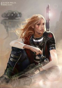 Star Wars: The Old Republic - Jackie Felix, The Rebel Scout - Woman Bounty Hunter with a Sniper Rifle and Probe Droid Star Wars Droids, Star Wars Rpg, Star Wars Rebels, Star Wars Characters Pictures, Sci Fi Characters, Star Wars Concept Art, Star Wars Fan Art, Cadeau Star Wars, Costume Star Wars
