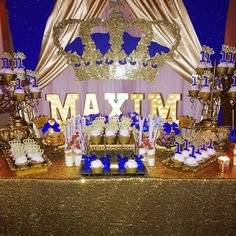 Blue and gold royal prince birthday party! See more party ideas at CatchMyParty.com!