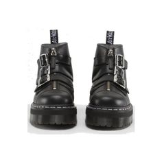 Dr. Martens Official UK Shop - Dr Martens Aggy Strap Boot ($215) ❤ liked on Polyvore featuring shoes, boots, ankle booties, black, footwear, black strap boots, black strappy boots, dr. martens, strap boots and black ankle booties
