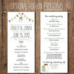 Printable Wedding Program- Rustic Vintage Banner & Mason Jar / DIY Downloadable Wedding Program / Custom Printable Program. $45.00, via Etsy.