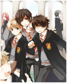 Anime Marauders. (Lupin & Sirius & James Potter... and Petter Pettigrew in the corner +.+)