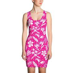 Bodycon Dress - Hawaiian Tropical Flowers - Hot Pink