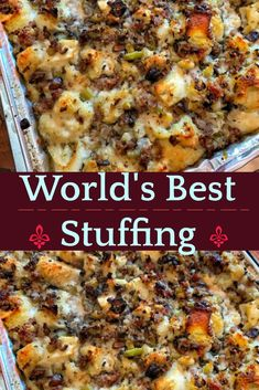This Thanksgiving stuffing will be your new family tradition. Sausage, onion and celery plus delicious bread dumplings make this the perfect holiday stuffing for your turkey or dinner. thanksgiving recipes for Thanksgiving stuffing Best Thanksgiving Recipes, Thanksgiving Stuffing, Thanksgiving Sides, Holiday Recipes, Fall Recipes, Traditional Thanksgiving Recipes, Christmas Stuffing, Thanksgiving Dressing, Recipes Dinner