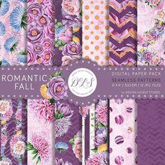 "Floral Digital Paper: ""Romantic Fall"" Purple Watercolor Flowers Roses Romantic Floral Scrapbook Wedding Nursery Seamless Patterns DP111"