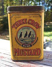 Vintage THREE CROW Brand MUSTARD Atlantic Spice Co Rockland ME Tin Can