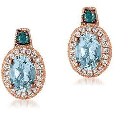 Le Vian Le Vian Exotics Diamond, Aquamarine & 14K Rose Gold Stud... ($1,049) ❤ liked on Polyvore featuring jewelry, earrings, aquamarine earrings, 14k diamond earrings, diamond jewellery, rose gold stud earrings and 14 karat gold earrings