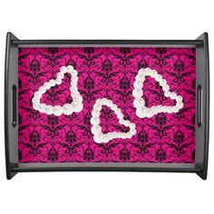 Hot Pink & Black Damask Pearl Hearts Small Black Serving Tray by #MoonDreamsMusic #SmallBlackServingTray #HotPinkAndBlackDamask #PearlHearts