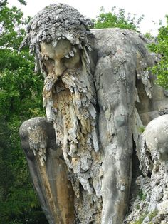 Colosso dellAppennino - The Appennine Colossus (1580). Giambologna. Giant structure in massive brick and stone. Location: Park of Villa Demidoff, Florence, Italy.