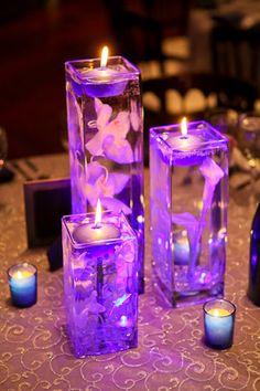 Blue Orchid Centerpieces, Blue Wedding Centerpieces, Floating Candle Centerpieces, Wedding Decorations, Wedding Songs, Wedding Themes, Wedding Ideas, Rustic Purple Wedding, Wedding Renewal Vows