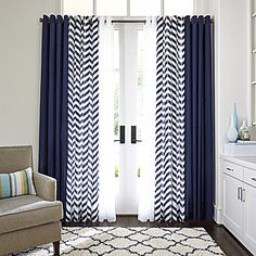 Like the combo of curtain styles Home™ Cotton Classics Broken Chevron Grommet-Top Panel - Blue Curtains Living Room, Blue And White Curtains, Home Curtains, Coastal Living Rooms, Modern Curtains, Living Room Decor, Window Treatments Living Room Curtains, Chevron Curtains, Rustic Curtains