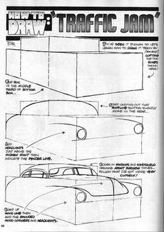 """George Trosley - How to draw: """"Traffic Jam"""" Drawing Lessons, Drawing Techniques, Drawing Tips, Cartoon Sketches, Art Sketches, Arte Tribal, Perspective Art, Car Design Sketch, Car Illustration"""