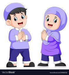 Two children giving greeting forgiveness vector image on VectorStock Cartoon Pics, Girl Cartoon, Cartoon Clip, Kids Vector, Vector Free, Ramadan Wallpaper Hd, Poster Ramadhan, Sheep Vector, Islamic Cartoon