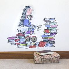 OH MY GOODNESS. If I had a playroom and deep pockets, I'm pretty sure an entire wall would be devoted to these. They are SO, SO PERFECT. || Matilda Quentin Blake / Roald Dahl Wall Sticker