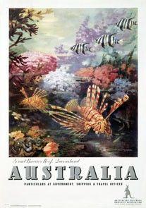 Australia, Great Barrier Reef vintage travel poster by James Northfeild
