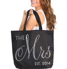 The Mrs Large Canvas Tote - customize it with the year the bride gets married! #wedding #bridalshower #bacheloretteparty