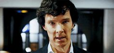 """(gif) His expression is so hard to read! If he were a normal person I would say this looks like anxiety, perhaps disappointment, maybe guilt or regret. But he's not a normal person. He's Sherlock. For all I know this expression could be """"Ah, I think perhaps I'll have the beef stew."""""""