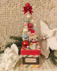 Handmade Christmas Box Decoration Kitsch by ThePokeyPoodle on Etsy