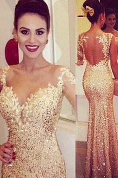 Gold Prom Dresses, Backless Prom Dresses, Sexy Mermaid Prom Dresses, Sequin Prom Dresses, One Shoulder Long Sleeves Prom Dresses - RightBrides 46124 Sparkly Prom Dresses, Prom Dresses 2015, Backless Prom Dresses, Prom Dresses Online, Prom Party Dresses, Prom Gowns, Dress Online, Dress Party, Occasion Dresses