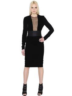 ALEXANDRE VAUTHIER - VELVET & TULLE DRESS - BLACK