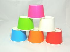 30- 8 oz Party Cups, 6 Colors! Ice Cream Cups Snack Cups Cupcake cups Fruit Cups Candy Cups Tough and Sturdy Cold Cups Hot Cups Paper Cups.
