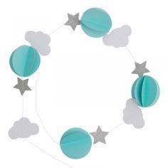 Papier Deko-Girlande 'Wolken & Sterne' mint/silber ca. 140cm