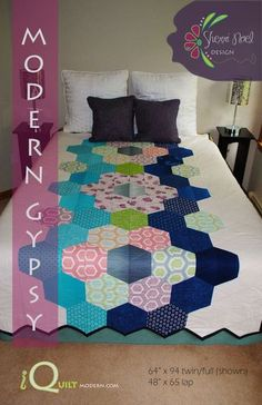 "Modern Gypsy Quilt Pattern comes in two sizes as a PDF File:TWIN/FULL 64"" x 94""LAP 48"" x 65"" #iquiltmodern"